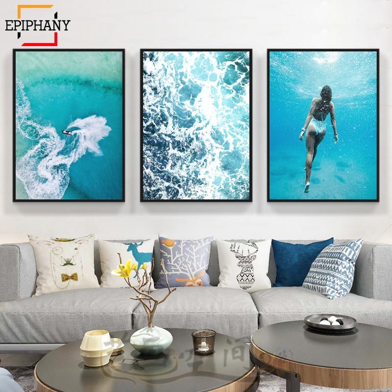 Coastal Wall Art Photo Print Blue Gray Beach House Home Decor Palm Tree Ocean