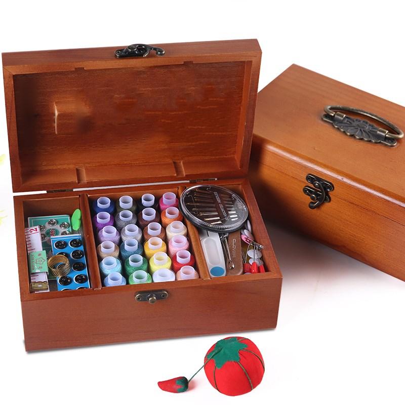 Ensemble de couture bricolage boîte en bois Kit de couture ruban à aiguille multifonction fils outils de couture accessoire Kits de couture pour maison voyage cadeau