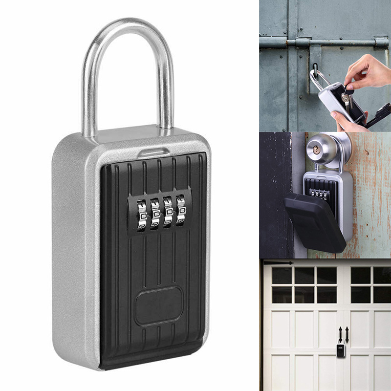 Key Storage Lock Box With 4-Digit Combination Hanging Key Safe Box For Indoor Outdoor WIF66