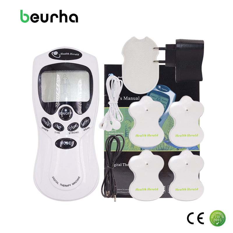 Beurha Tens Acupuncture Electric Digital Therapy Neck Back Machine Massage Electronic Pulse Full Body Massager Health Care 2017 hot sale mini electric massager digital pulse therapy muscle full body massager silver