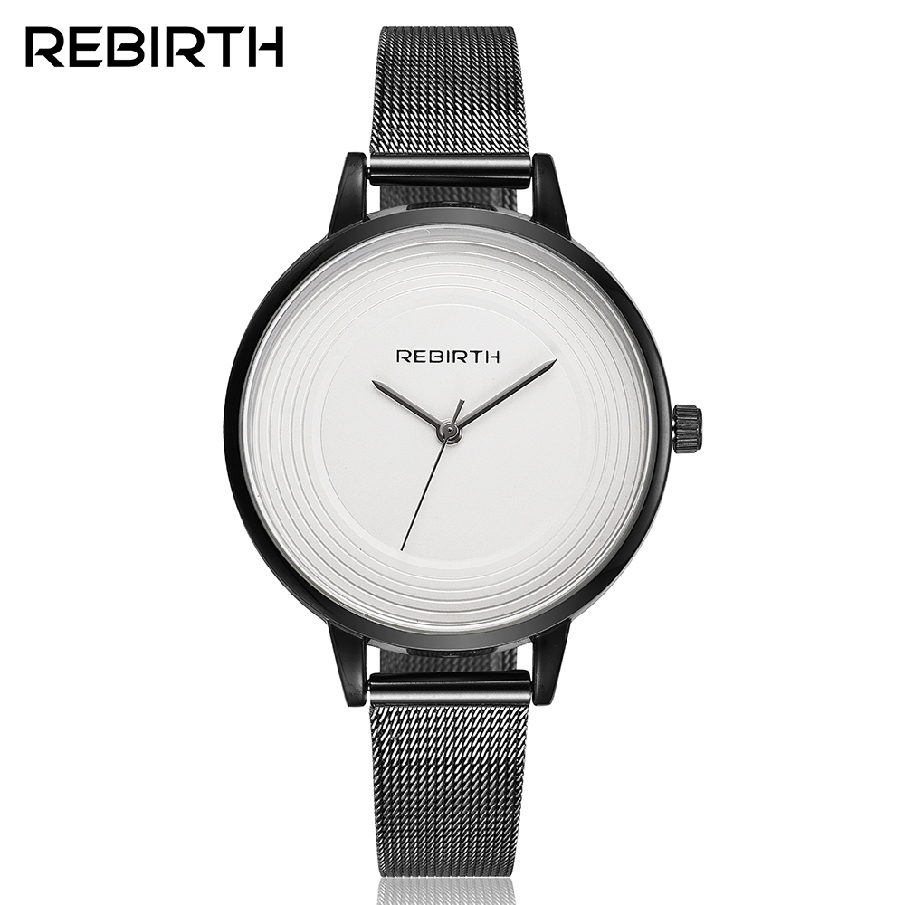 Black Mesh Steel Strap Simple Style Women's Fashion Watches 2017 New Arrival REBIRTH Brand High Quality Female Dress Watch Clock new chaos abstract design simple watches for young people rebirth fashion brand quartz watch with comfortable leather strap