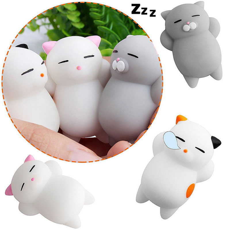 Mini Squeeze Squishy Animals Soft Cute Cat Toys Anti-stress Silicone Hand Squishies Sticky Eliminate Antistress Finger Pets Toy