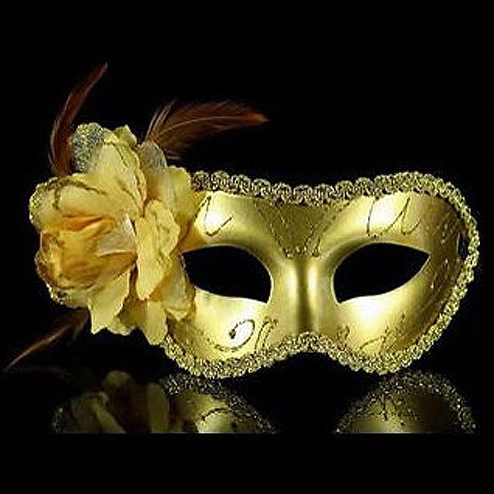 FLST Venetian Feather Fancy Dress Masquerade Ball Mask (Gold)