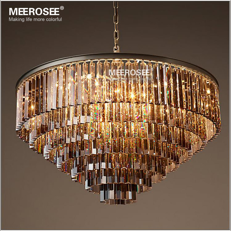 Modern Crystal Chandelier Elegant K9 22mm size Article crystal Smoky Gray Crystal Suspension Lamparas for Cafe Restaurant Hotel