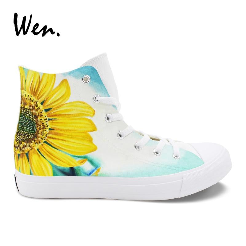 Wen Hand Painted Floral Shoes Sunflower Flower Original Design High Top Canvas Sneakers Women Girls Athletic Shoes canvas hand painted sunflower oil painting 50 x 60cm