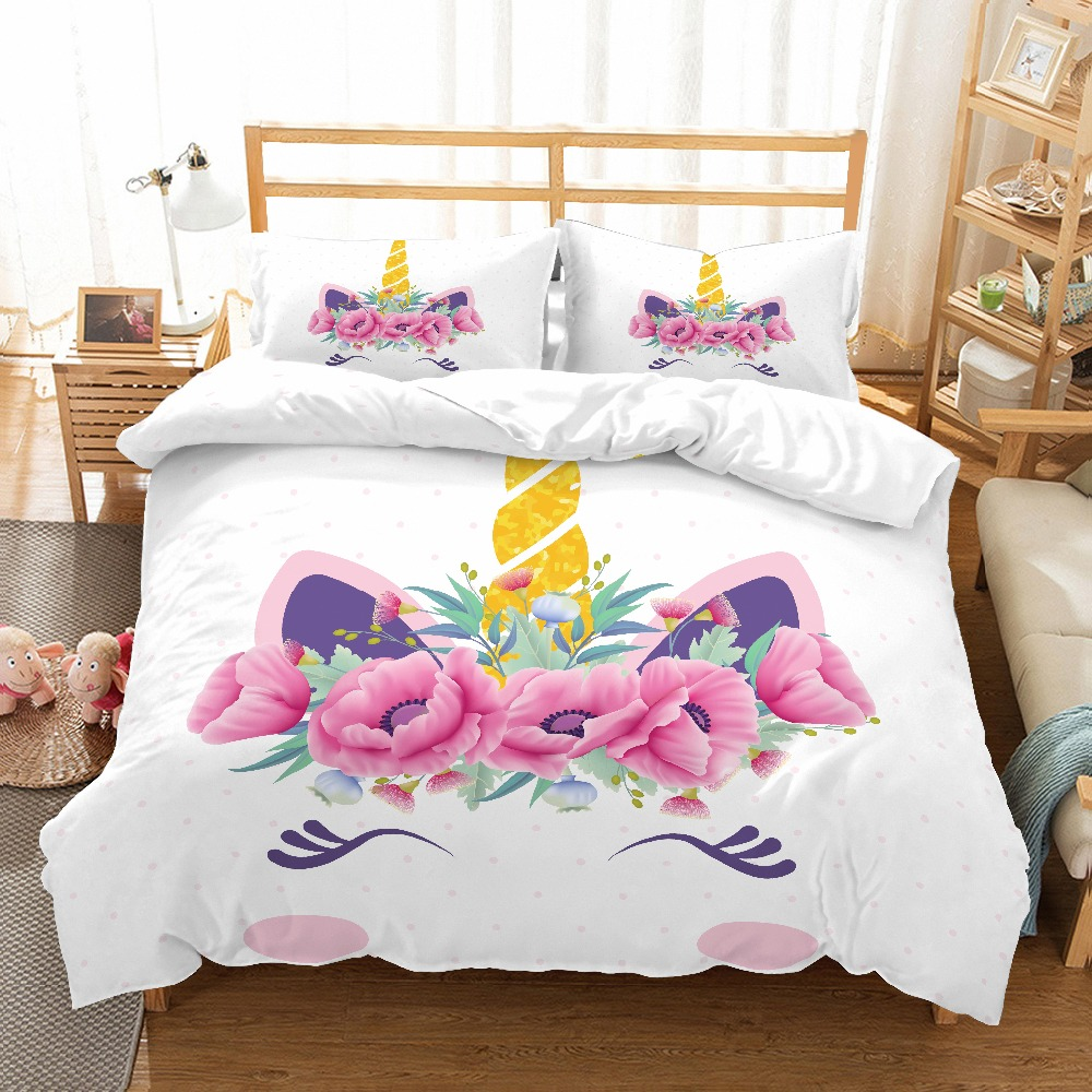 MUSOLEI 3D Duvet Cover Set unicorn flower light pink Poppy flower smilling kids'/lovers presents/gifts Bed Sheet Twin queen king