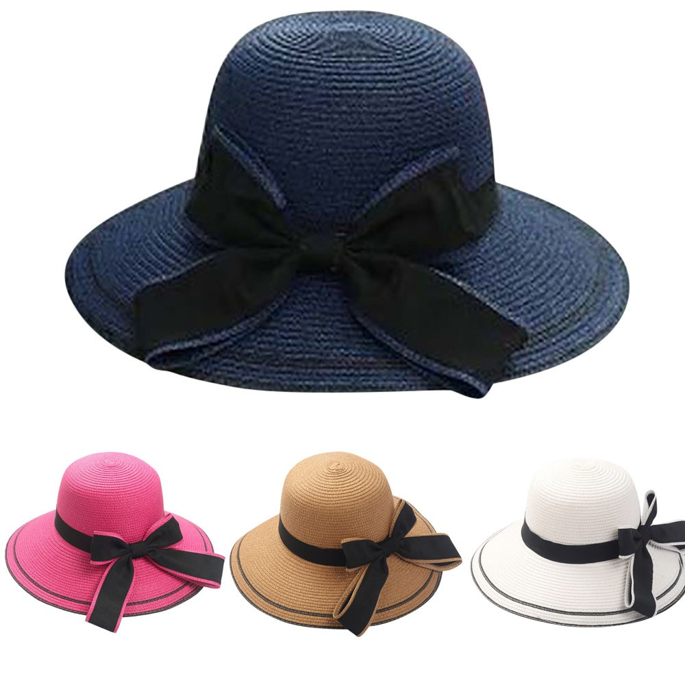 a044f591 Detail Feedback Questions about Summer vintage pure Women's Beach sun hat  Floppy Foldable Ladies Women Bow Straw Beach Sun Summer Hat Wide Brim on ...