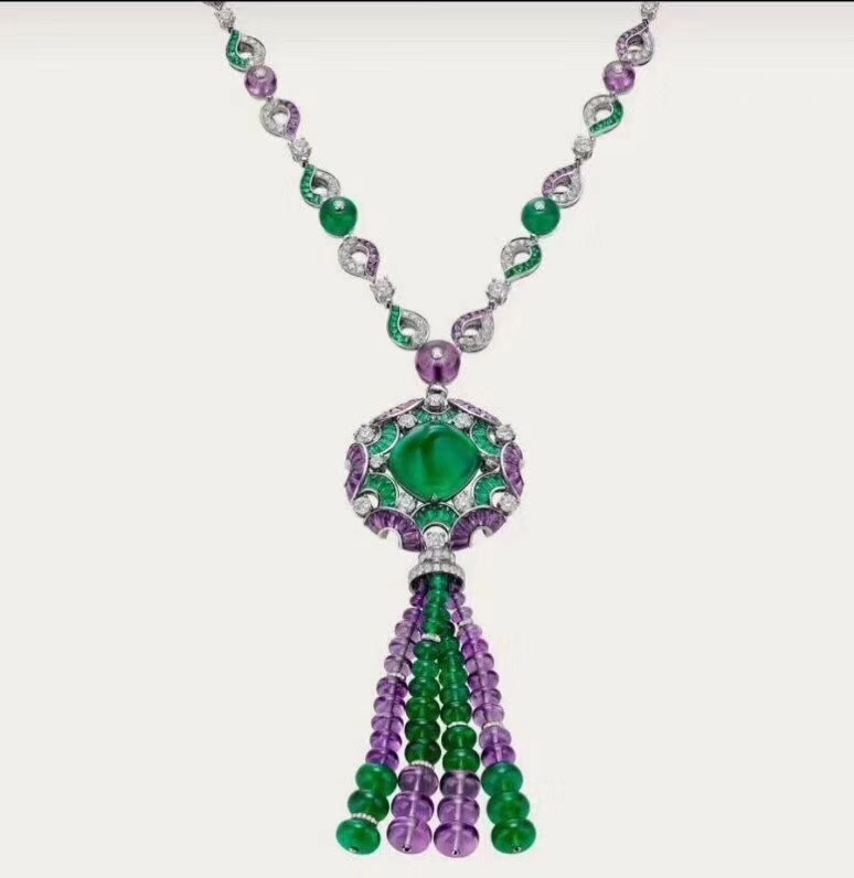 ZOZIRI fashion jewelry dinner party necklace for women luxury color stone green purple bead ball crystal flower necklace emanco multilayer purple bead chain necklace for women wholesale crystal semi precious stone glamorous newjewelry necklace