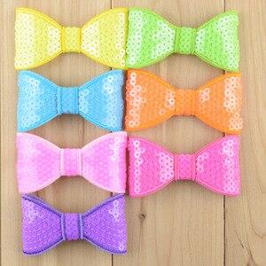 Image 3 - 300 шт./лот 32 цвета U Pick 3,15 дюйма блестящая вышивка блестками бант аппликация без зажимов свадебные аксессуары для волос HDJ26