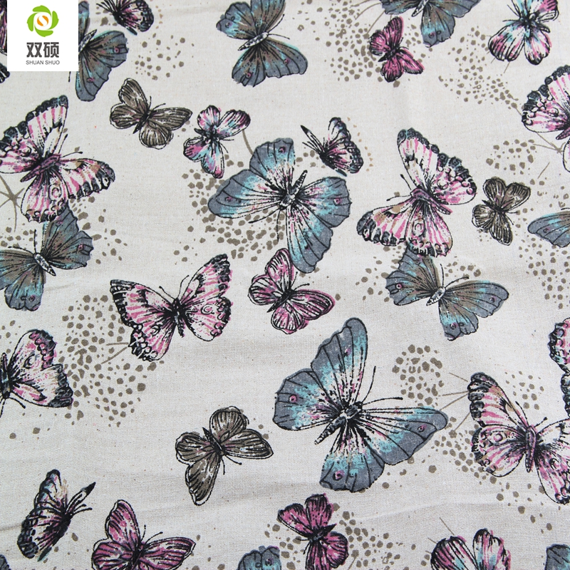 Butterfly pattern linen fabric needlework textile sewing for Cheap sewing fabric