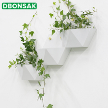 Creative Metal Iron Art Wall Vase Home Hanging Flower Basket Decoration Adornment Round Shape White Color Holder Vases
