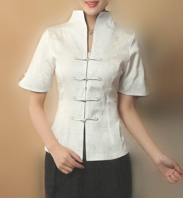 Venta caliente Blanco Chino Tradicional Camisa de Las Mujeres Top Con Cuello En