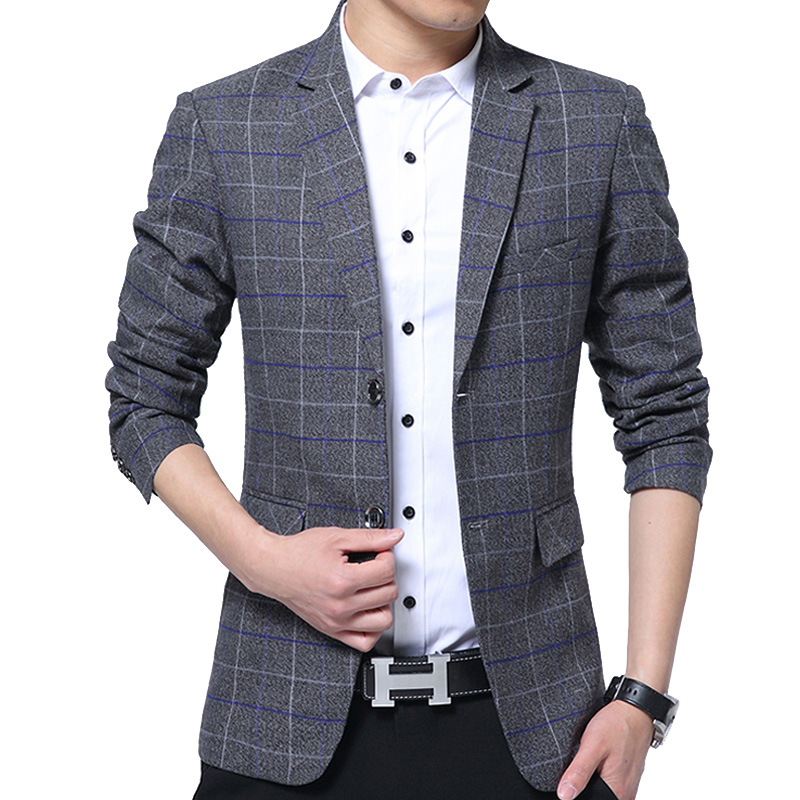 1cf1494900 Men Blazer Detachable Hooded Design Blazer Men's Casual Jacket Slim Fit  Plaid Suits Costume Homme Classic Mens Suit Coats M XXXL-in Blazers from  Men's ...