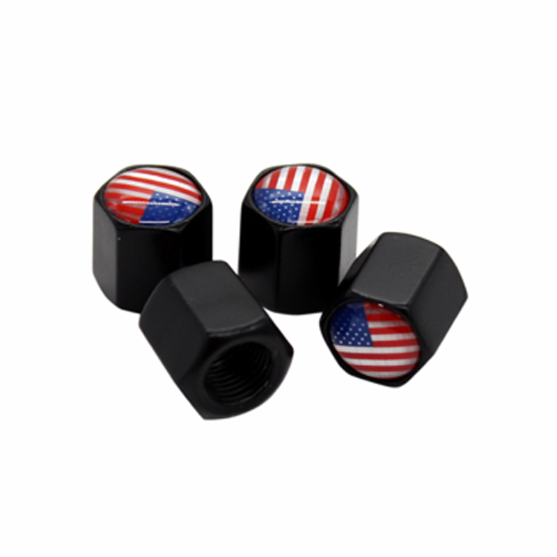 HAUSNN 4Pcs/Pack Tire Stem Caps Tyre Accessories Valve Caps Car Styling USA US Flag Logo For Ford GMC Cadillac Chevrolet Dodge