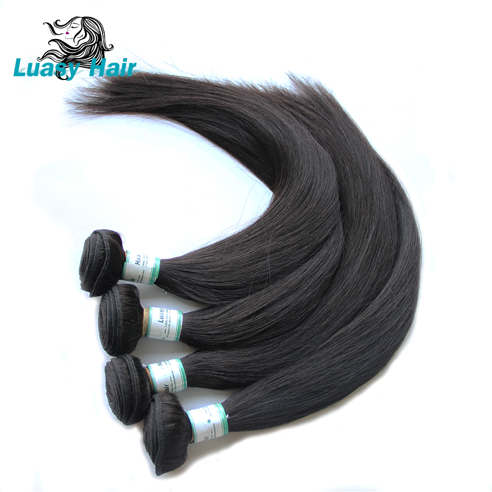 Luasy Brazilian Straight Hair 4 Bundles With Lace Closure 100% Remy Human Hair Bundles With Closure Total 5Pcs/Lot Free Shipping-in 3/4 Bundles with Closure from Hair Extensions & Wigs    2