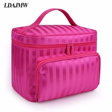 LDAJMW yeni gelenler katlanabilir kozmetik çantası makyaj aracı saklama çantası seyahat organizatör büyük kapasiteli makyaj çantası