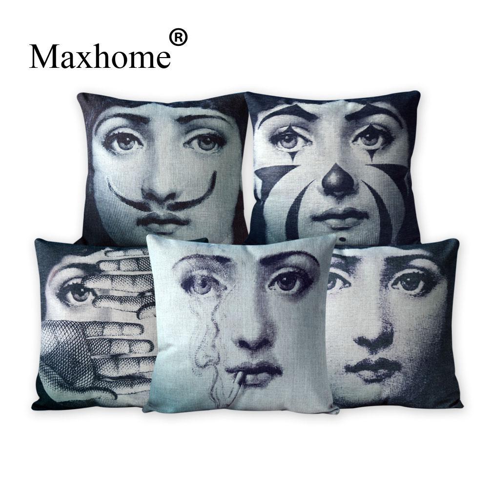2015 Modern Cushion Covers Printed Art Fornasetti Bed Car Hotel Printed Luxury Home Decor Sofa Vintage Pillowcase Cushion Cover