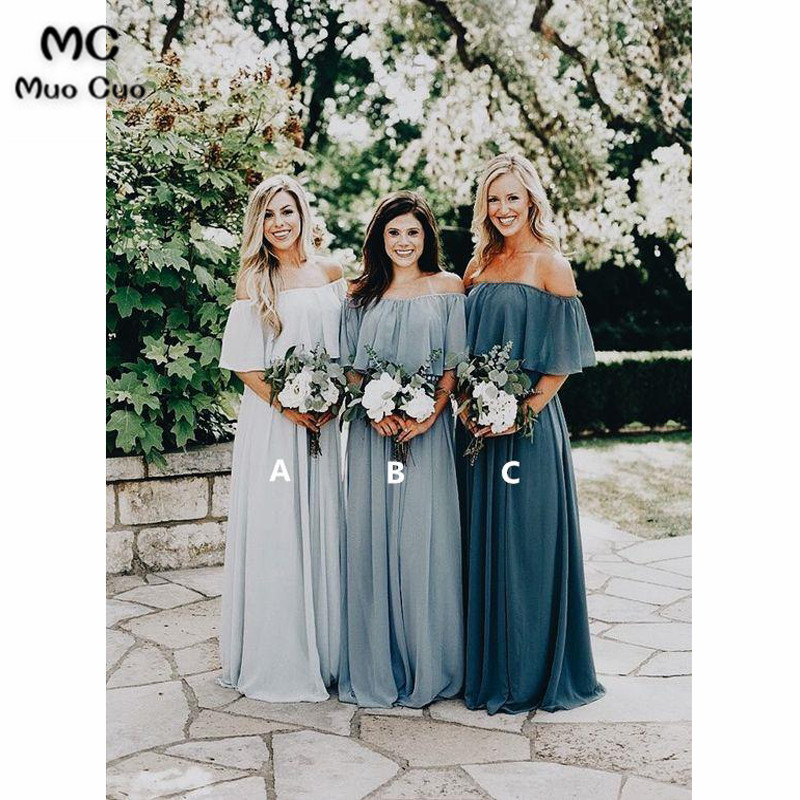 2018 Off Shoulder Bridesmaid Dress Long With ABC Chiffon Half Sleeve Wedding Party Dress Custom Made Women Bridesmaid Dresses