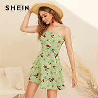 SHEIN Boho Floral And Cherry Print Summer Dress Women Sleeveless Spaghetti Strap Mini Dress 2019 A Line High Waist Beach Dress