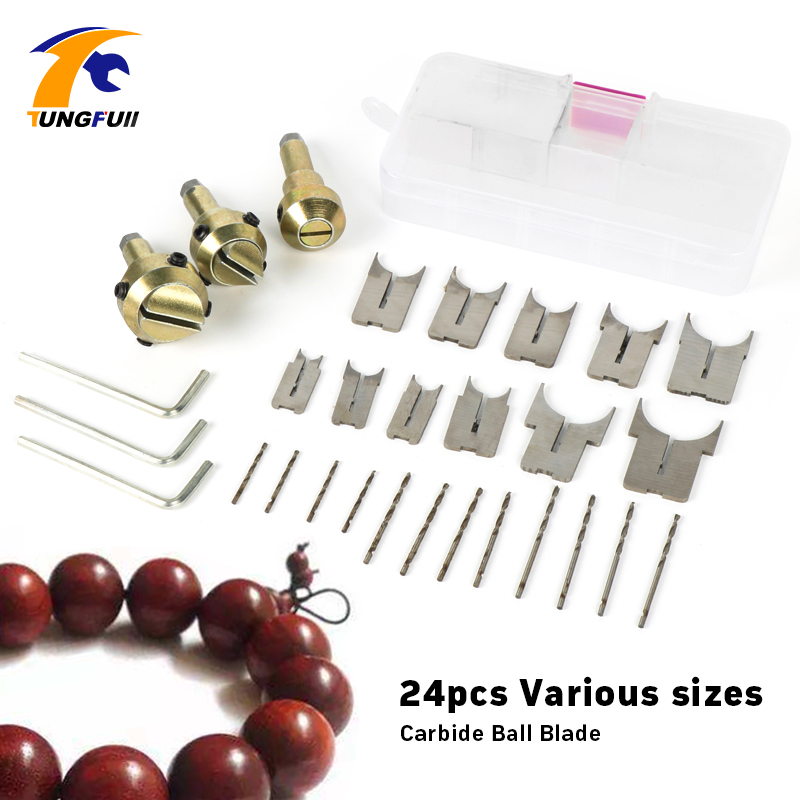 Tungfull 24pcs Carbide Ball Blade Woodworking Milling Cutter Router Bit Wooden Beads Drill Beads knife ball 6-25mm tungsten alloy steel woodworking router bit buddha beads ball knife beads tools fresas para cnc freze ucu wooden beads drill