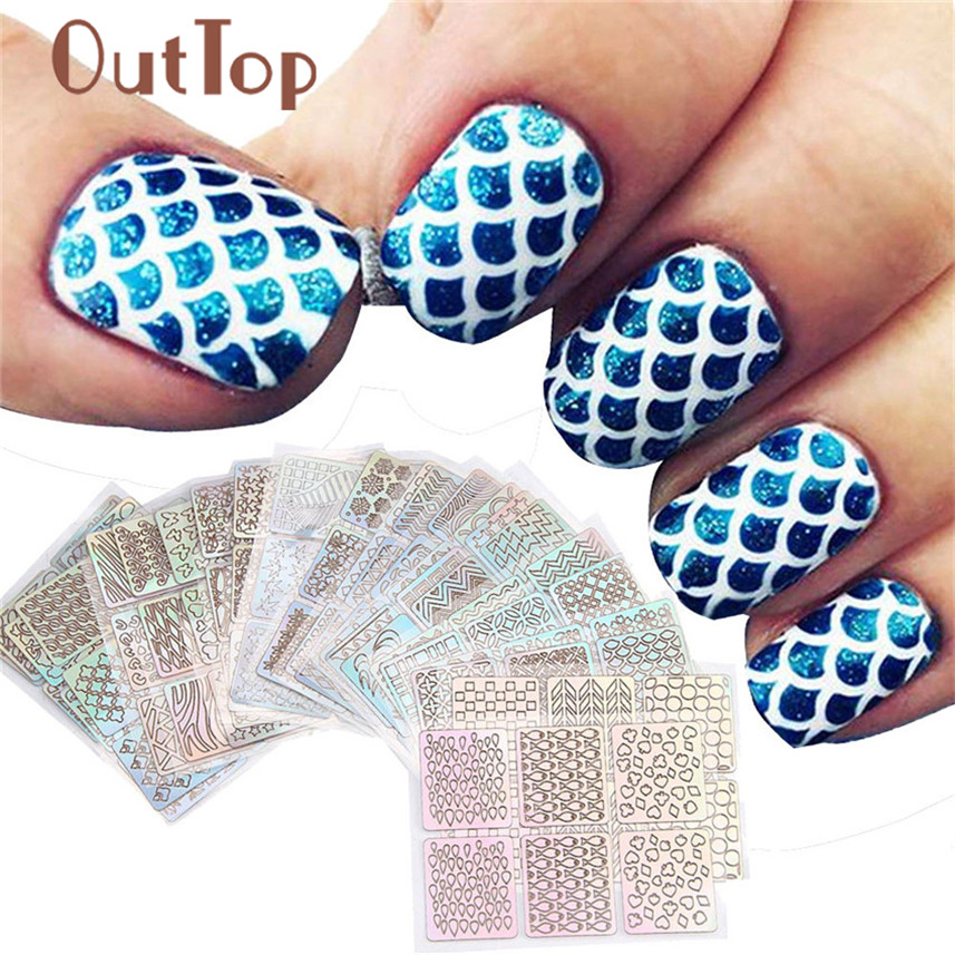 OutTop 24 Sheets New Nail Hollow Irregular Grid Stencil Reusable Manicure Stickers Stamping Template Nail Art Tools J170118 diy template stickers for nails charms flower heart bow stamping nail art manicure guide