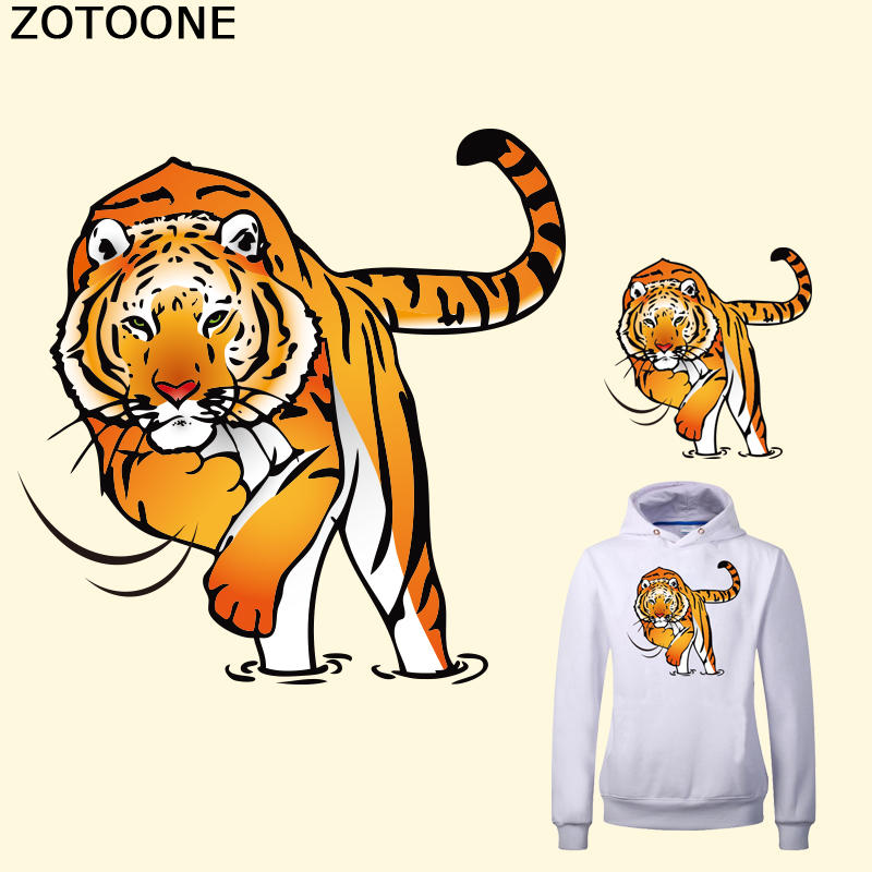 ZOTOONE Tiger Patches For Clothes 12.6*12.8cm A-level Washable Applique Heat Transfer Iron On Patches Parches Para La Ropa D