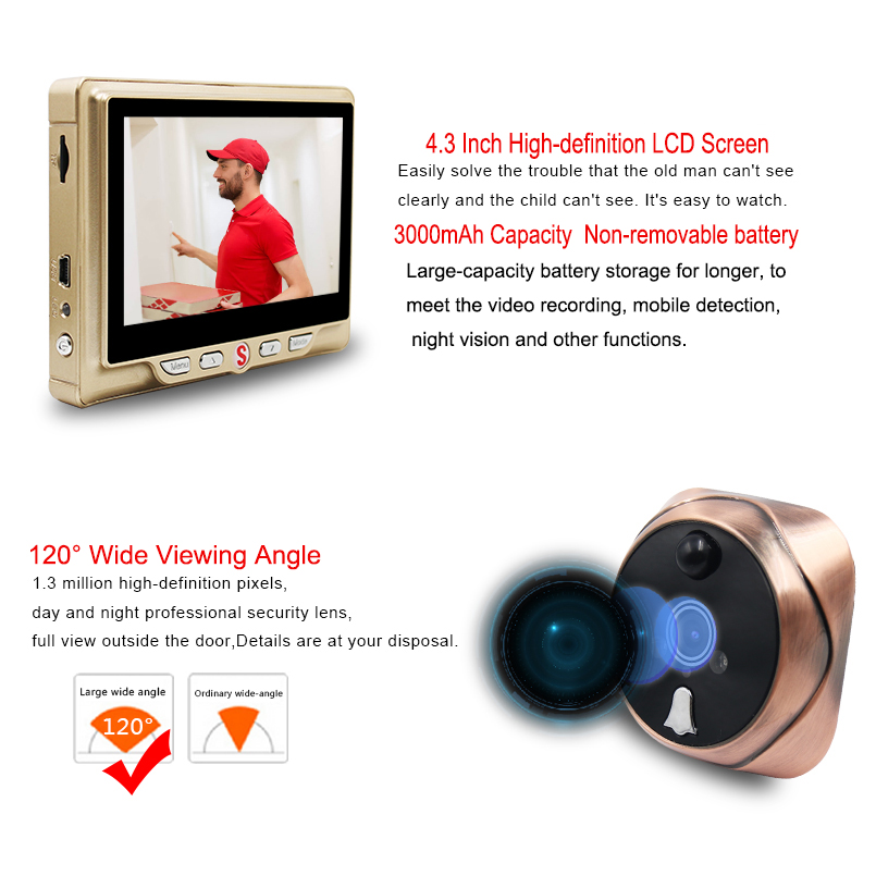 Saful judas numérique caméra vidéo porte cloche vidéo-oeil avec carte TF prenant Photo porte judas visionneuse moniteur pour la maison - 4