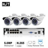 HJT HD 4CH H.265 + H.265 5.0MP POE NVR комплект видеонаблюдения Системы IP Камера открытый Водонепроницаемый видеонаблюдения комплект DIY Seetong