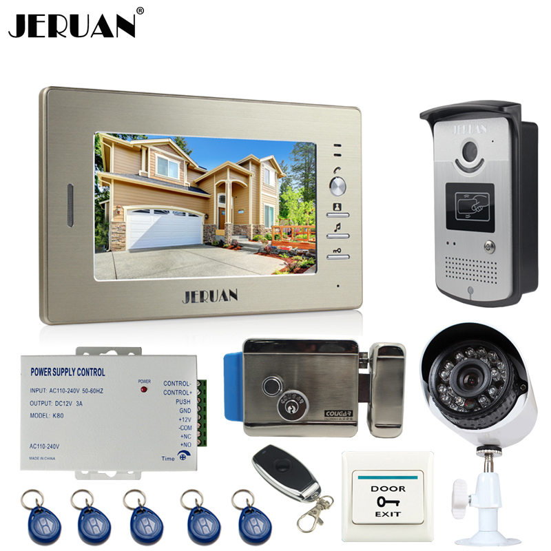 JERUAN Luxury 7``Video Door Phone Intercom System kit RFID Access Camera+700TVL Analog Camera+remote control+E-lock+Exit button jeruan 7 inch video door phone intercom system kit rfid touch key waterproof access camera 180kg magnetic lock remote control
