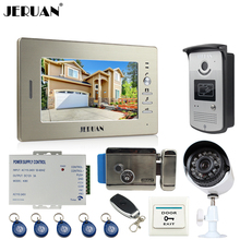 "JERUAN Luxury 7""Video Door Phone Intercom System kit RFID Access Camera+700TVL Analog Camera+remote control+E-lock+Exit button"