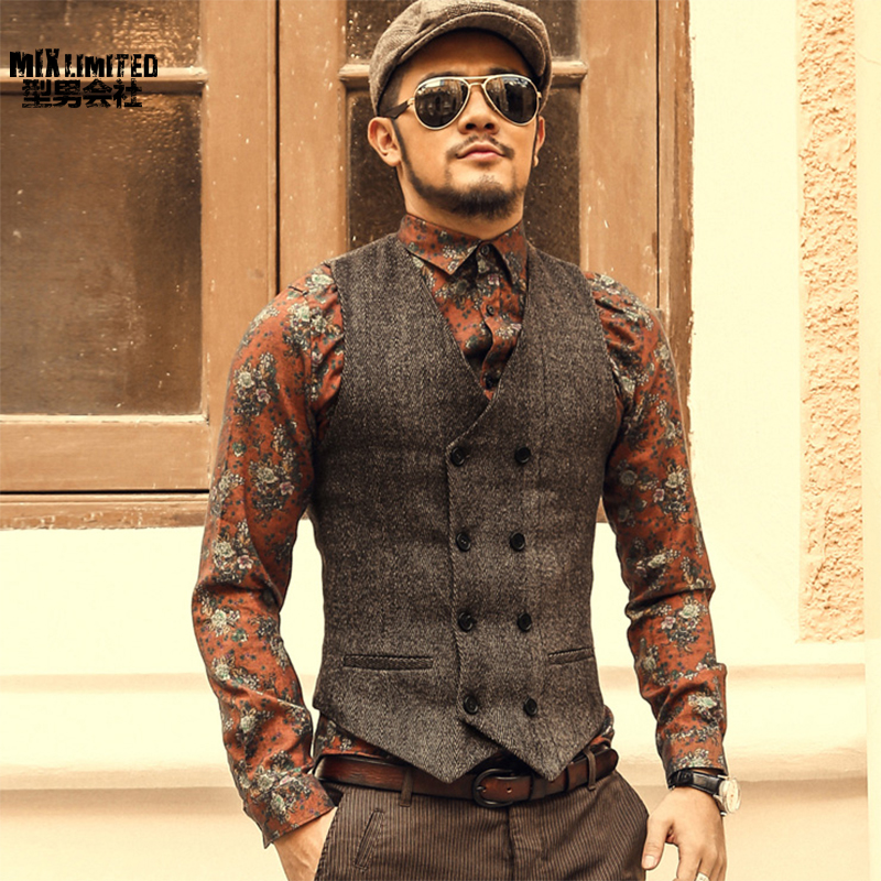 Mens Double Breasted Vest Men Dress Suit Vest Men Formal Grey Vest Suit Gilet Vest Slim Business Jacket Tops homme spring M51|grey vest suit|vest suitdress suit vest - AliExpress