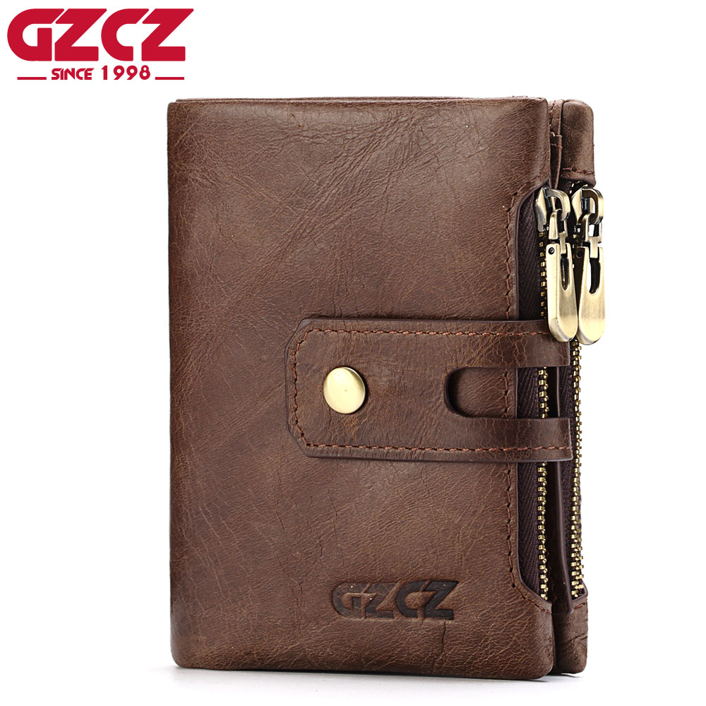 GZCZ Genuine Leather Wallet Men Coin Purse Card Holder Small Walet Male Clutch Man Vallet Zipper Clamp For Money Bag Portomonee joyir vintage men genuine leather wallet short small wallet male slim purse mini wallet coin purse money credit card holder 523