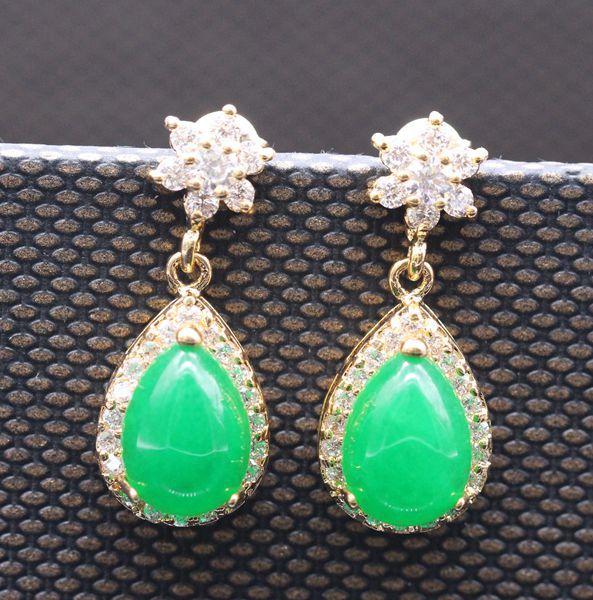 Fashion Classic Jewelry Gold Plated Waterdrop Malaysian Jade AAA CZ Earring E08 2