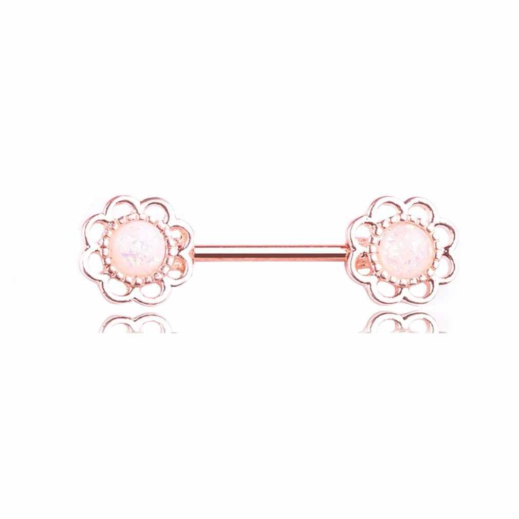 Fiore di Strass Sexy Delle Donne Ciondola Gli Tettarelle da biberon Piercing Scudi Bar Piercing Tettarelle da biberon Anello Piercing per le Donne Body Piercing