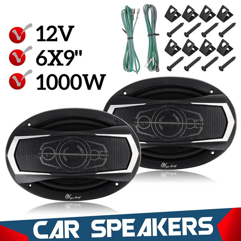KROAK 2 pièces 6x9 Inch 1000 W 4 voies voiture Coaxial Hifi haut-parleur véhicule porte Auto Audio basse musique stéréo Audio Auto son voiture Tweeters