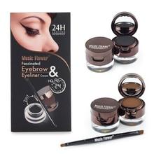 Flor música Marca Brown + Black Gel Eyeliner Sobrancelha Pó Kit Conjunto de maquiagem À Prova D' Água de Longa Duração Eye Liner Eye Brow cosméticos(China (Mainland))