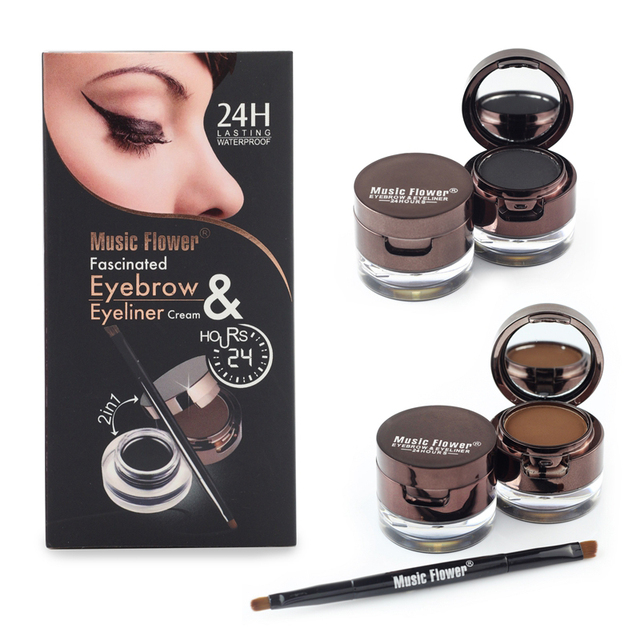 Music Flower Brand Brown Black Gel Eyeliner Eyebrow Powder Makeup