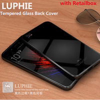 Luphie Fashion Luxury Metal Frame Tempered Glass Back Cover Case For Xiaomi Mi5 M5 Mi 5