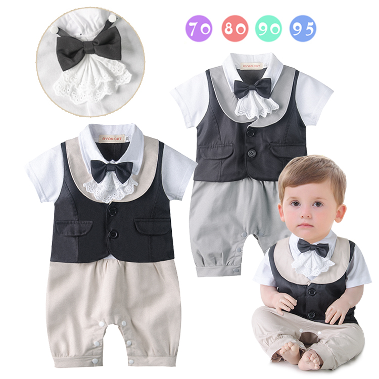 Gentlemen Stylish Baby Boy Rompers Cute Bow knot Tie Khaki