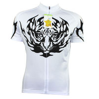 Alien SportsWear Tiger Head Pattern Men's Short Sleeve Bicycle Jerseys White Quick Dry Cicle Clothes Size XS 5XL