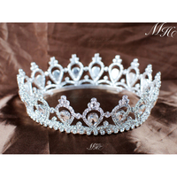 Hot Queen Tiara and Crown Diadem Full Round Clear Austrian Rhinestone Crystal Bridal Wedding Tiara Noiva Pageant Prom Accessorie