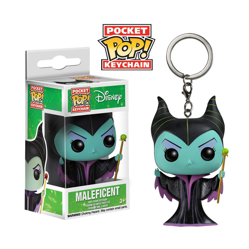 FUNKO POP Cartoon Disney Descendants Maleficent Vinyl Action Figures Pocket Keychain Toys For Children Christmas Gift