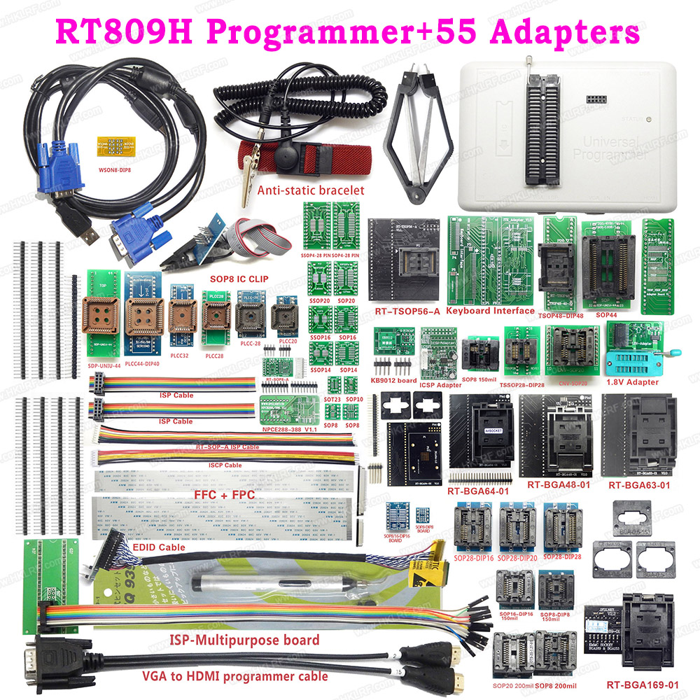 RT809H EMMC NAND FLASH USB Programmer 55 Items BGA48 BGA64 BGA169 TSOP56 SOP44 DIP44 All Adapters