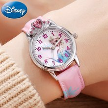 Frozen Elsa Princess Girl's Blue Pink Color Luxury Crystal Watch Girl Love Beautiful Snow Disney Child Watches Fashion Style Top(China)