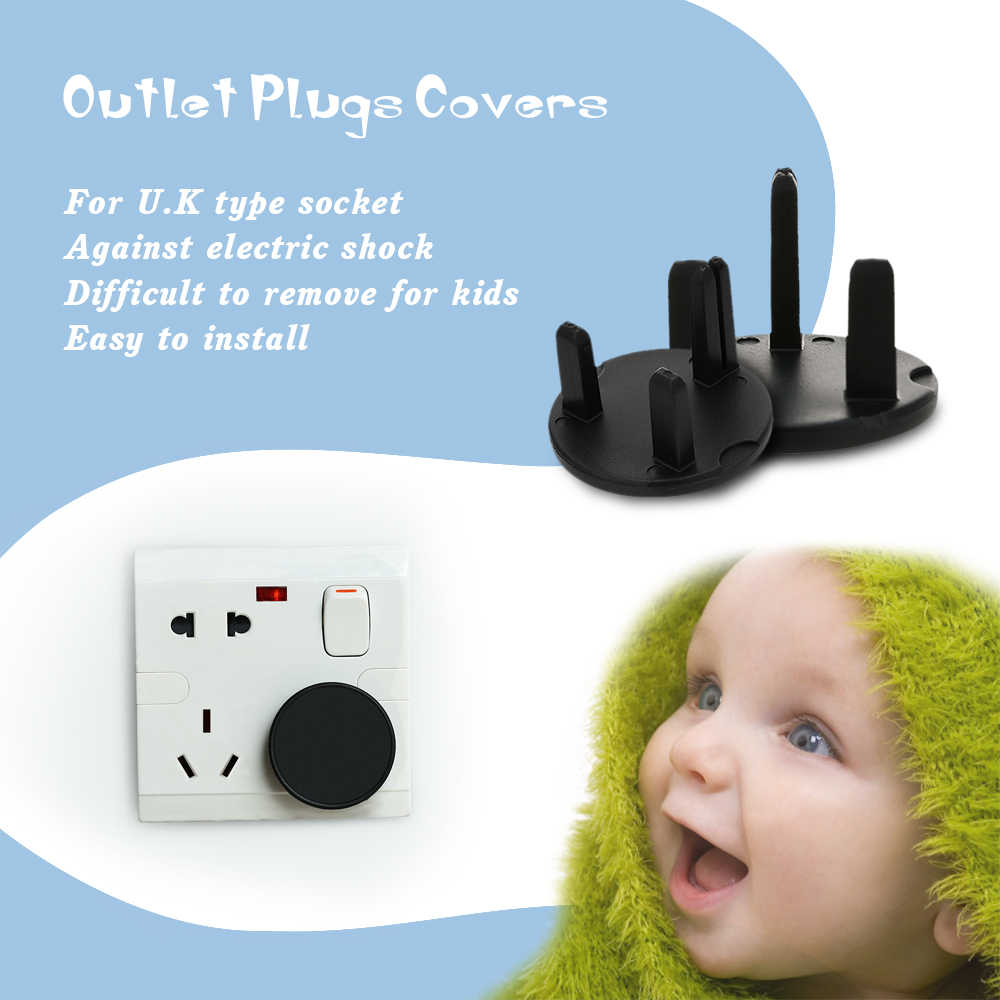 Irfora Baby Socket Cover 6Pcs//Pack Outlet Plugs Covers U.K Type Safety Socket Cover Electrical Protector Safety Caps For Baby Proofing Black