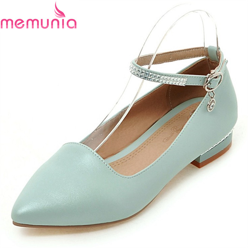 MEMUNIA ladies pumps women shoes low heels spring autumn pu leather pointed toe sweet hot sale comfortable  dress shoes memunia 2018 hot sale genuine leather