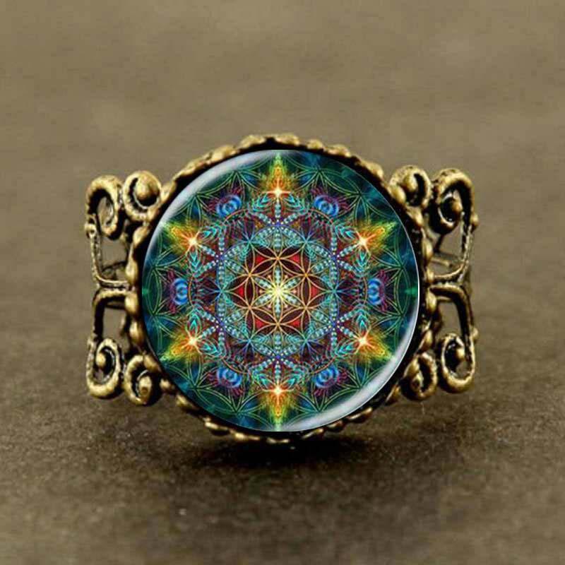 Multicolor Flower of life Jewelry mandala yoga Ring man womens steampunk charm