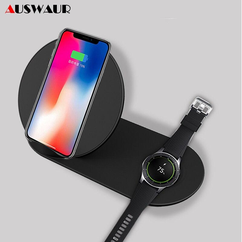2 em 1 QI Carregador Sem Fio para o iphone X XS MAX iWatch 1 2 3 4 Airpods Engrenagem Samsung S2 s3 S4 Nota 9 Relógio Rápido Carregador Sem Fio