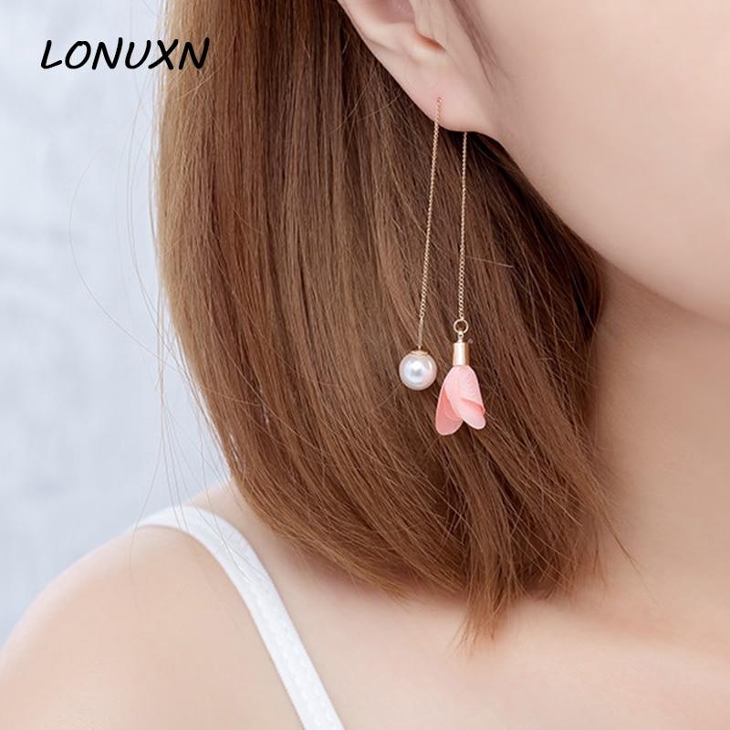 7 styles Pearl Earrings red pink flowers Ear line tassel simple female temperament high quality women jewelery lovers best gift