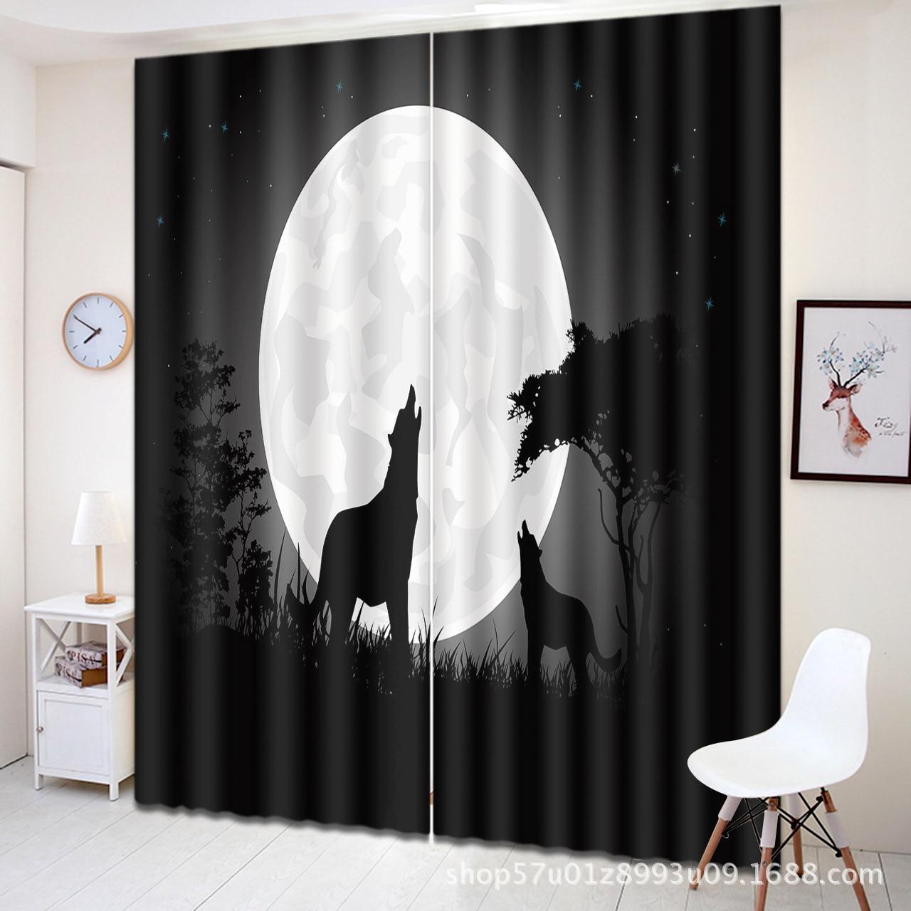 Le loup Totem 3D imprimé fond rideaux pour chambre salon Halloween fenêtre décoration occultant fenêtre lumière ombre